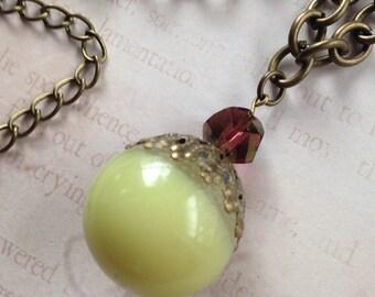 Glowing Gypsy Mystical Orb Necklace - Antiqued Bronze, Swarovski Cosmic Cut Crystal, Glow in the Dark Enchanted Orb