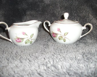 Antique, hand-painted, Bavarian cream and sugar set