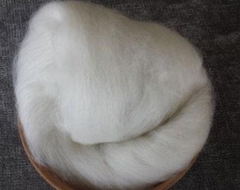 White Suri Alpaca / Superwash Merino / Bamboo / Mulberry Silk / Handcarded spinning batt / Suri Alpaca / 2 oz.