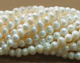 Large Hole Pearls. 8-9mm Freshwater Pearls. 2mm Hole. 1 strand. Approximately 45pcs