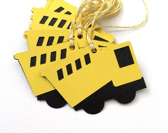 Construction truck gift tags. Yellow and Black. For gifts, baby shower, birthday party favors, treats, gift bags. Tip truck, Dump truck.