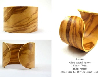 Wild Olive.Simple Twist.Wooden Bracelet.Olive wood natural veneer. Eco jewellery.