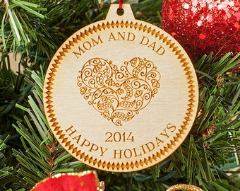 Custom Engraved Personalized Christmas Ornament Wooden Tree Decoration