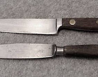 2 Antique HENCKELS Zwillingswerk Kitchen Knives Wooden Handles