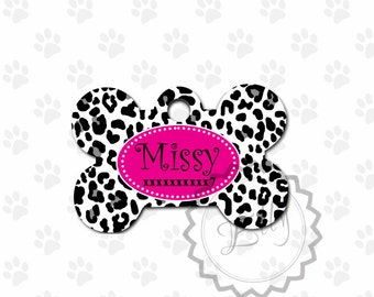 Black and White Cheetah Print Design Dog Tag - Metal ID, Pet tag, personalized dog tag