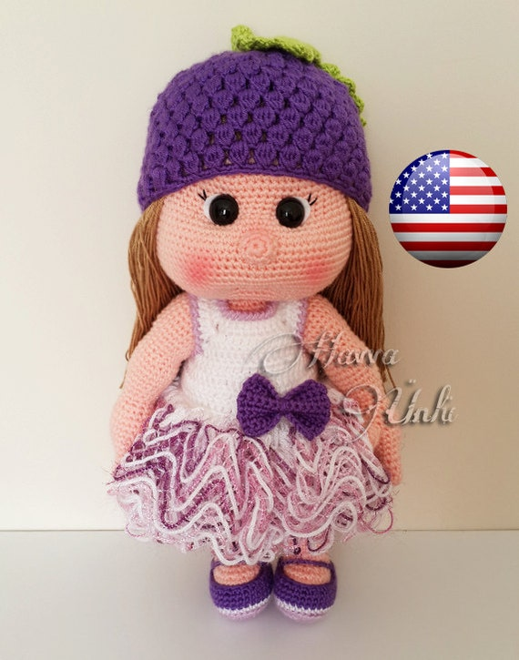 Amigurumi Grapes Pattern : PATTERN Mia Doll With Grape Hat and Dress crochet by ...