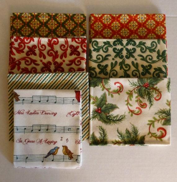 Cotton Fabric, Quilt, Home Decor, Christmas Fat Quarter Bundle of 7 ...