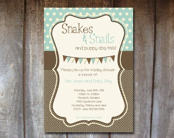 Editable Baby Shower Invitation - DIY DIGITAL Printable, Print Your Own - Charlie Theme - Snakes and Snails and Puppy Dog Tails Boy