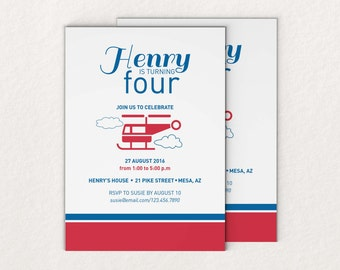 Helicopter - Kids Birthday  Party Invitation
