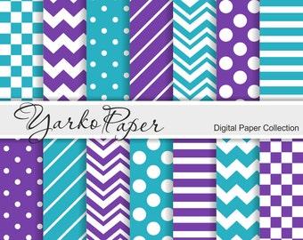 Purple And Teal Digital Paper Pack, Chevron, Polka Dot, Stripes, Basic Geometric Paper, Digital Background, 14 Sheets - Instant Download