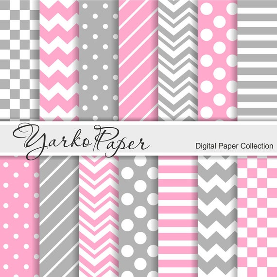 Pink And Grey Digital Paper Pack Chevron Polka Dot Stripes