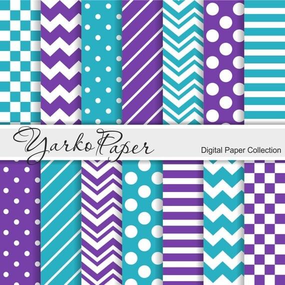 Purple And Teal Digital Paper Pack Chevron Polka Dot