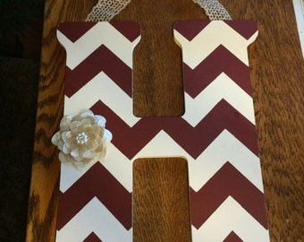 Handpainted Letter H in Maroon & Light Mocha