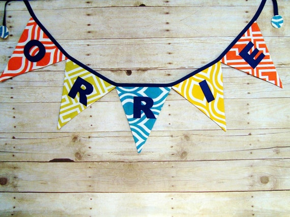 Geometric Name Banner / orange , yellow , blue and green / fabric bunting / new baby name sign / shower deocration / boys name