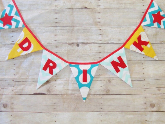 Party Banner - Decoration - Custom Fabric sign - Drink banner Bunting - Wall Hanging - Bar Sign - Party Flag - Refreshment table - Picnic