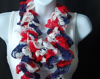 Ruffle scarf, Patriotic scarf, Lightweight scarf, Spring scarf, Red, White, and Blue