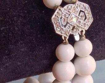 RHINESTONE On Silver Clasp Double Strand WHITE BEADED Bracelet
