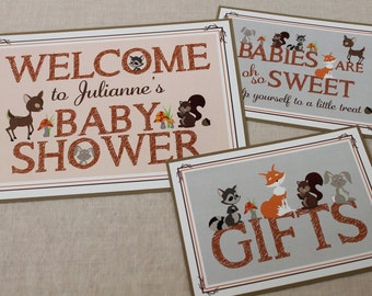 Woodland Baby Shower Signs - Pack of 3