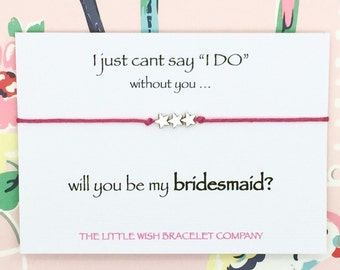 Bridesmaid .. Will you be my .. Friendship Wish bracelet on a keepsake card chose colour and charm
