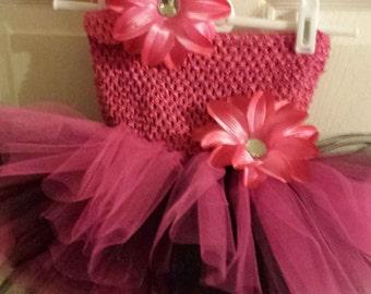 Dark Pink & BlackTutu Dress. Flower girl, birthday, photos. infant, baby, toddler, girl sizes