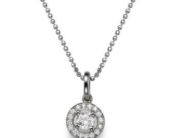 Classic Halo Diamond Pendant Necklace, 14K White Gold Necklace, Art Deco Diamond Pendant, Anniversary Gift, Wedding Jewelry, Bridal Jewelry