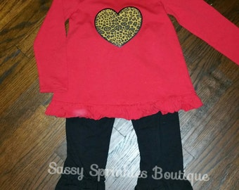 Red Valentine's Day Heart Heart Shirt with Black Triple Ruffle Pants, Ready to ship Size 4t