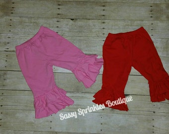 Cotton Ruffle Capri Pants