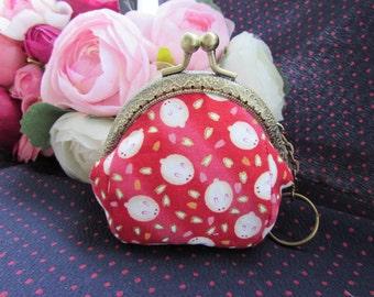 Handmade Cute Rabbit Print Red Kiss Lock Coin Bag Small Pouch Coin Purse (8.5cm)