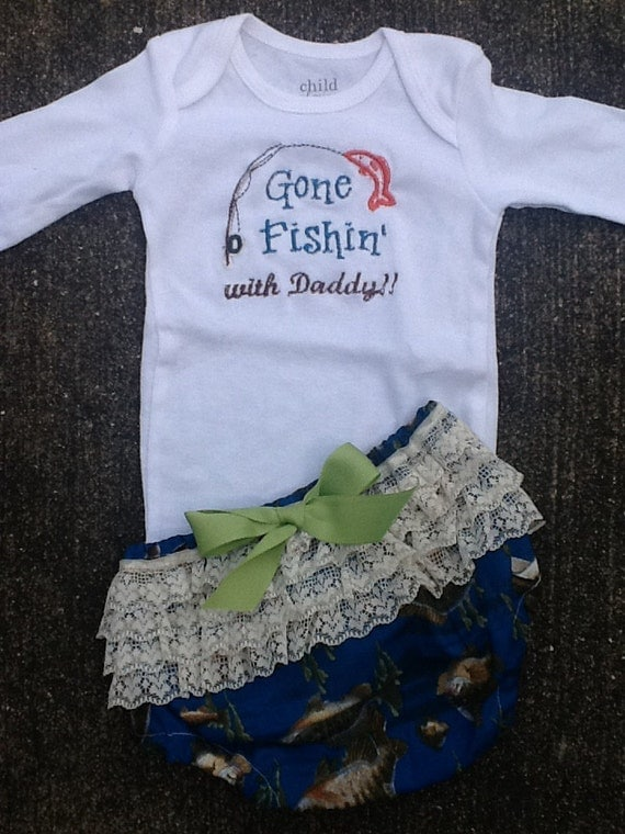Gone Fishin' With Daddy Onesie and Diaper Cover Set