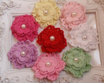 8 crochet flowers with pearls applique CH-054-01