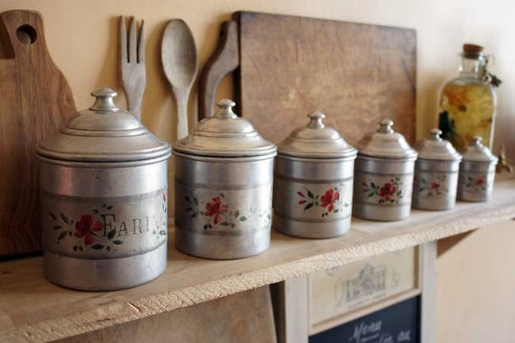 French Kitchen Canisters Complete Set Of 6 Vintage Aluminium