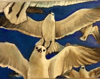 Flock of Seagulls Acrylic Painting