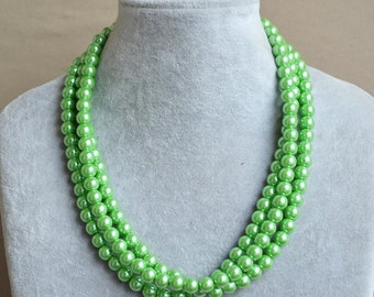 green pearl necklace,pearl necklaces,3 strands 18 inches glass pearl necklace,green bead necklace,hand made jewelry,pearls