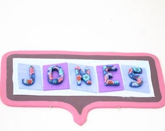 Personalized Door Sign, Custom Door Sign, Personalized Name Sign, Custom Name Sign, Personalized Room Sign, Purple Sign, Whimsical Sign