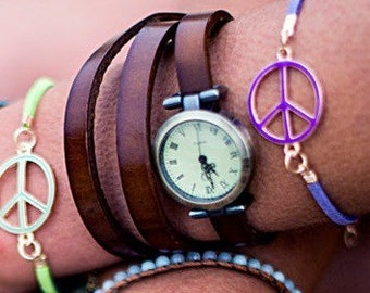 Ladies Brown Leather Wrap Watch