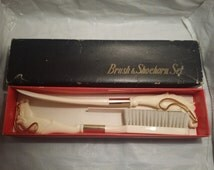 Vintage Ivory Celluloid Brush & Shoe Horn Set Made In Japan-In Original Box