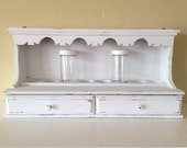 Vintage wood wall spice rack with drawers, distressed, white,with jars