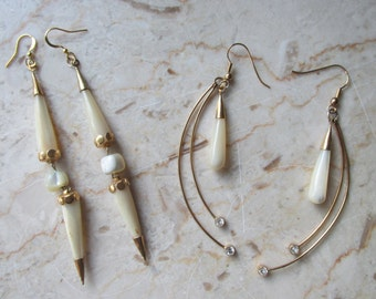 Upcycled vintage cream Stone earrings - choose 1