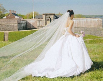 Cathedral  single layer white, ivory ,off white veil