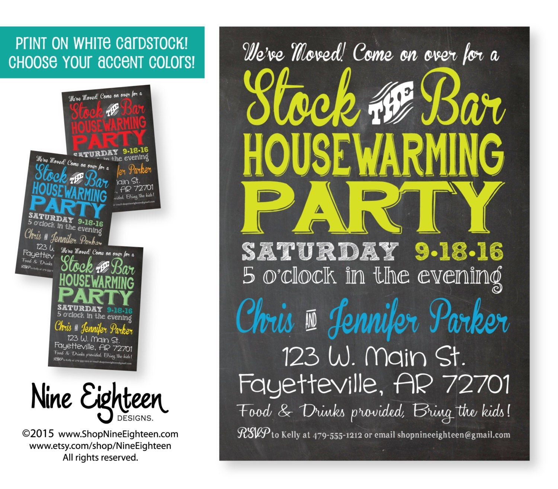stock the bar housewarming party invitation custom by