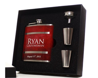 Gifts for Groomsmen, Set of 7, Personalized Flasks for Groomsmen Gifts, Best Man, Red