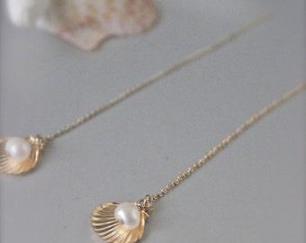 Gold shell & pearl thread earrings, Ocean jewelry