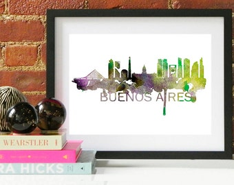 Buenos Aires Art, Buenos Aires Skyline, Buenos Aires map, Buenos Aires skyline, Buenos Aires map print