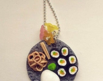 Necklace with Japanese food dish
