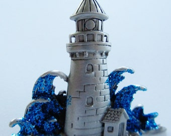 JJ Jonette Silver Pewter Lighthouse With Blue Glitter Waves Brooch Pin