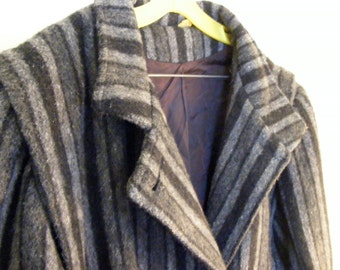 Grey Striped Wool Blend Overcoat 1980's Misses' by Kathryn Traci - Double Breasted