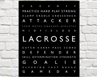 Lacrosse Print PERSONALIZE with Athletes Name, Typography, Sports Art, Lacrosse Poster, Lacrosse Print, Lacrosse Wall Art,  Lacrosse Gift