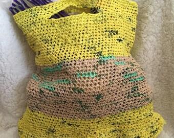 SALE Upcycled Plarn (Plastic Yarn) Crochet Market Bag