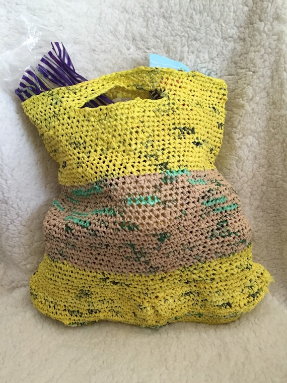 Crocheting Yarn For Sale : SALE Upcycled Plarn Plastic Yarn Crochet Market by RedHeadedJill