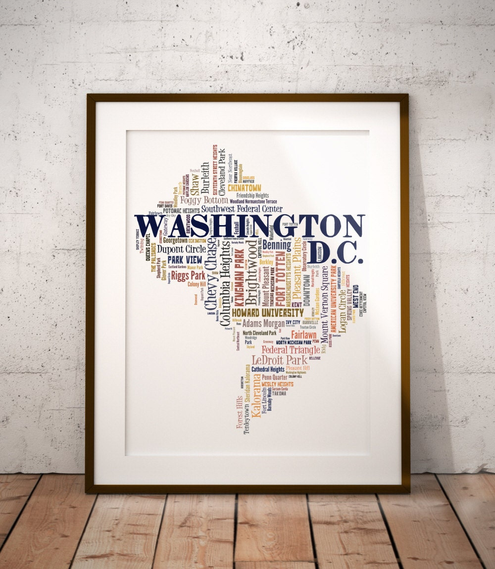 Washington dc Map Poster Washington dc Map Art